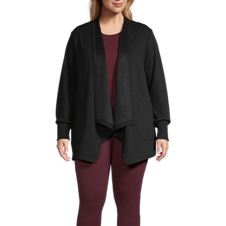 Stylus-Plus Cascade Womens Long Sleeve Open Front Cardigan, 1x , Black
