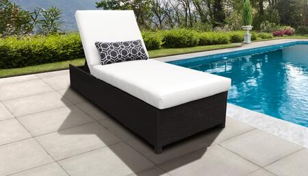 Belle BELLE-W-1x-WHITE Wicker Patio Chaise with Wheels - Wheat and White