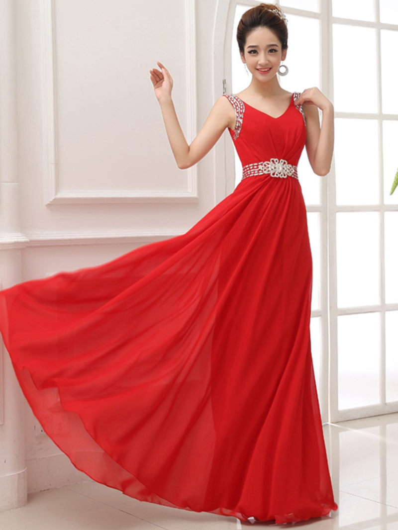 Ericdress V-Neck Beaded A-Line Floor-Length Prom Dress
