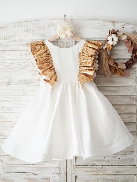 Milanoo Vestidos de niña de las flores Cuello joya Mangas cortas Faja Vestidos formales para niños