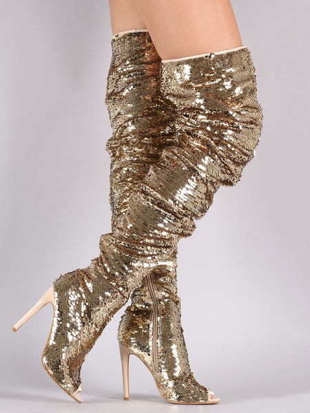 Milanoo Thigh High Boots Sequined Over Knee Boots Peep Toe High Heel Sexy Boots