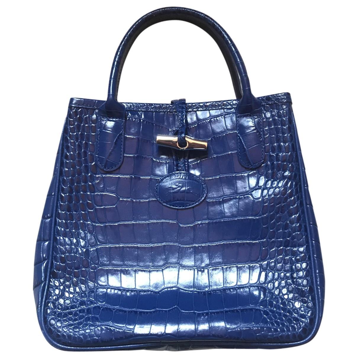 Longchamp Roseau Handtasche in  Blau Leder