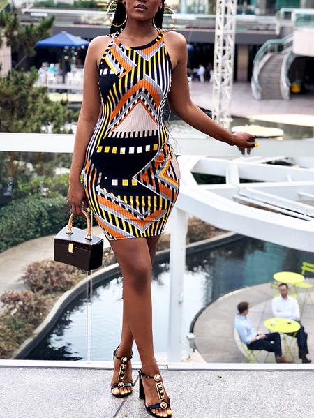 Yoins Multicolor Print Backless Design Halter Dress