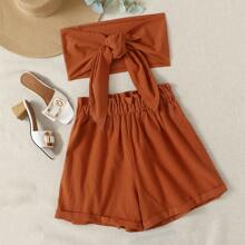 Tie Front Tube Top & Paperbag Waist Shorts Set
