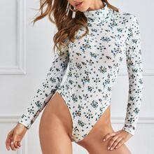 Body mit Rollkragen und Bluemchen Muster
