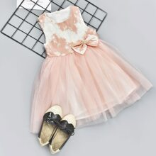 Toddler Girls Pearls Bow Front Tulle Party Dress
