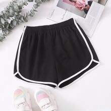 Shorts track de cintura elastica unidos en contraste