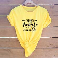 Slogan Graphic Short Sleeve Tee