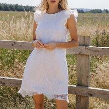 V-back Ruffle Armhole Lace Overlay Dress
