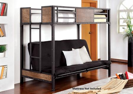 Clapton Collection CM-BK029TS Twin Size Bed with Futon Base  Attached Ladder  Nailhead Accents  Wood Panels and Full Metal Construction in Black