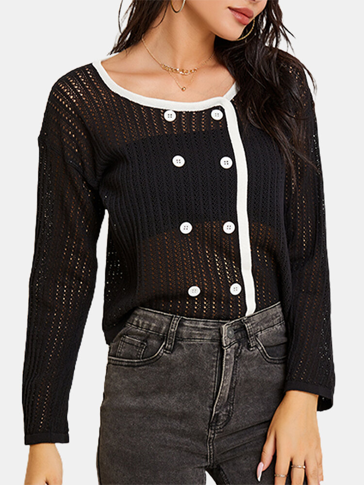 Hollowed See-through Sexy Solid Long Sleeve Lace Button Blouse