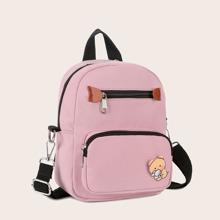 Cartoon Graphic Zip Front Backpack