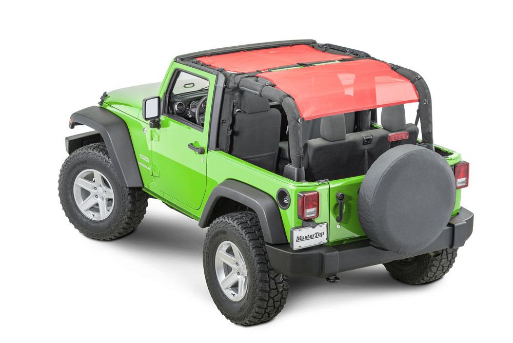 MasterTop 14230302 Jeep JK Mesh Rear Cargo Top For 1997-2018 Wrangler JK, TJ ShadeMaker Red