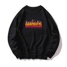Men Fire And Letter Graphic Sweatshirt
