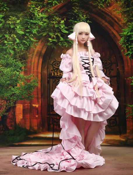 Milanoo Chobits Chii Halloween Cosplay Costume Pink Sweet Lolita Dress Halloween