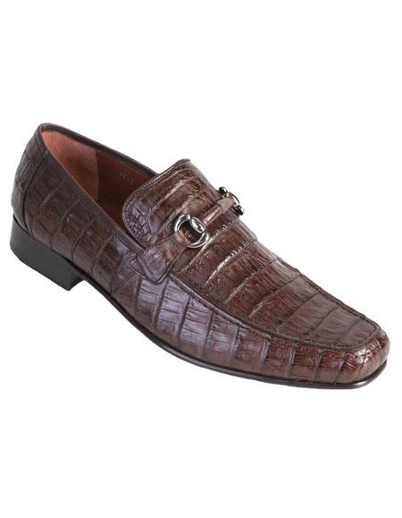Mens Brown Genuine Caiman Crocodile Belly Slip-On Casual Dress Shoes