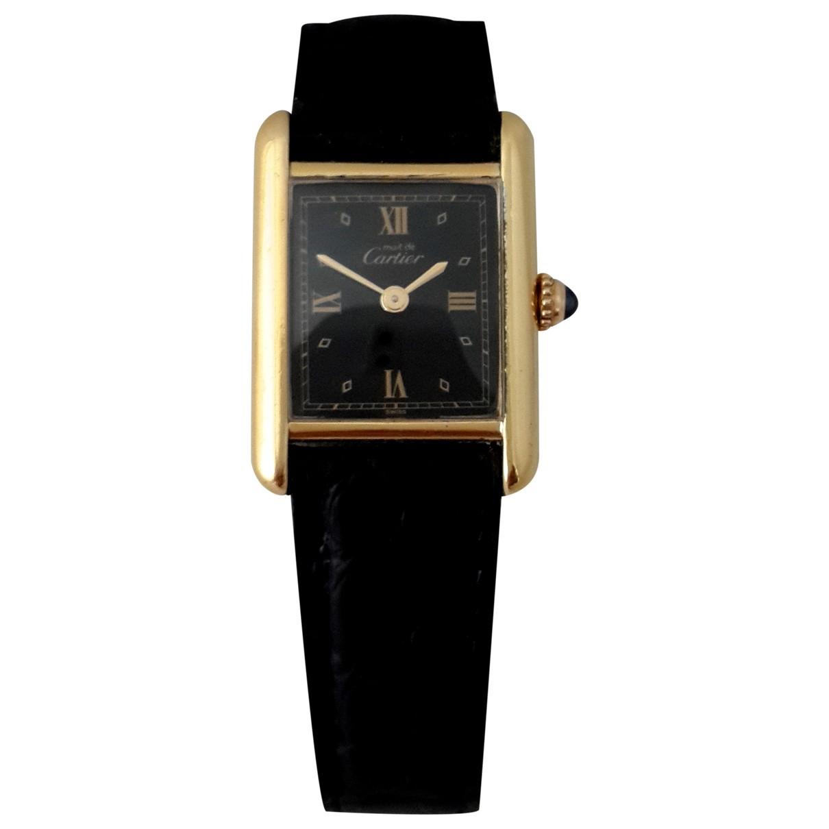 Cartier Tank Must Uhr in  Schwarz Vermeil