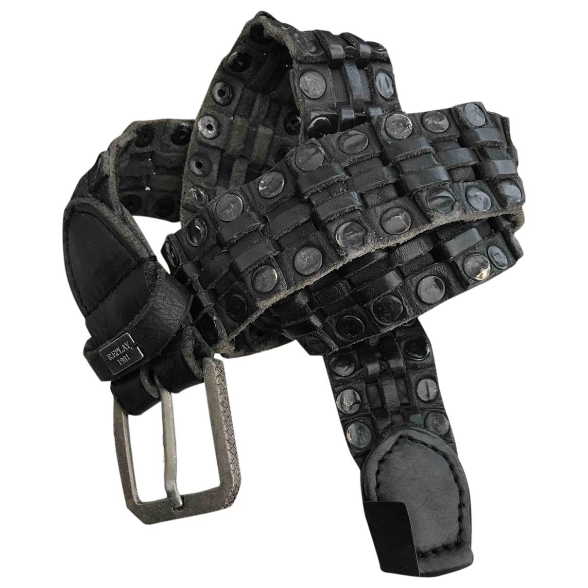 Replay \N Guertel in  Schwarz Leder