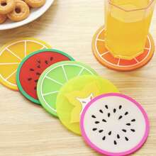 3pcs Fruit Print Round Coaster