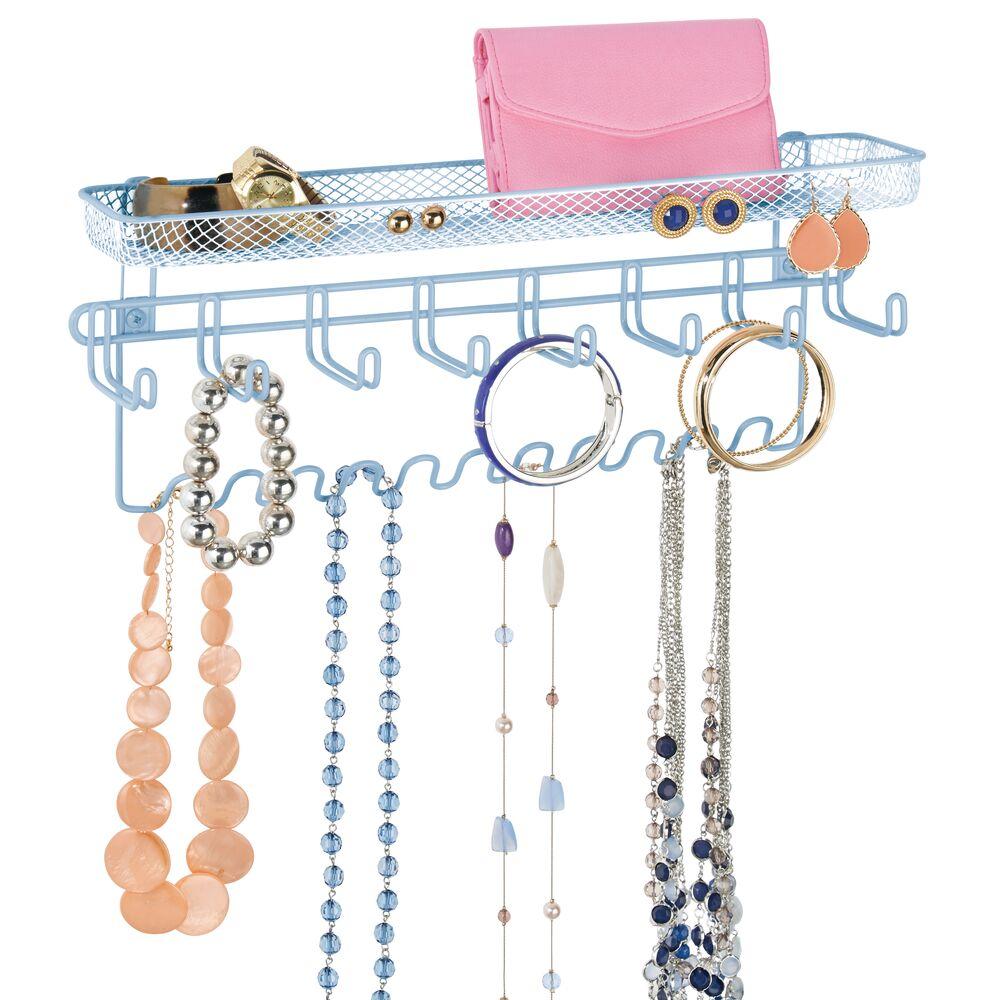 Wall Mount Accessory + Jewelry Organizer Storage Rack in Light Blue, 15