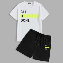 Maenner T-Shirt mit Buchstabe Grafik und Shorts
