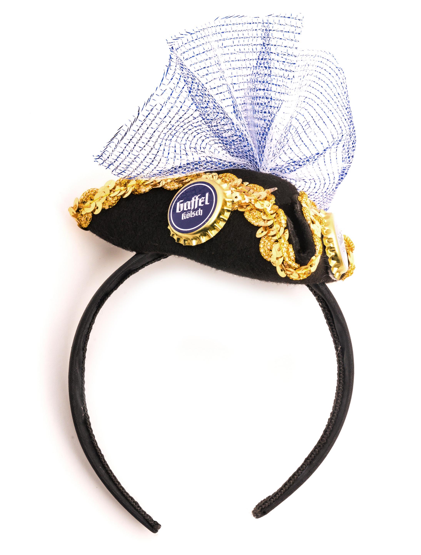 Kostuemzubehor Haarreif Mini-Dreispitz Gaffel Kronkorken Farbe: schwarz