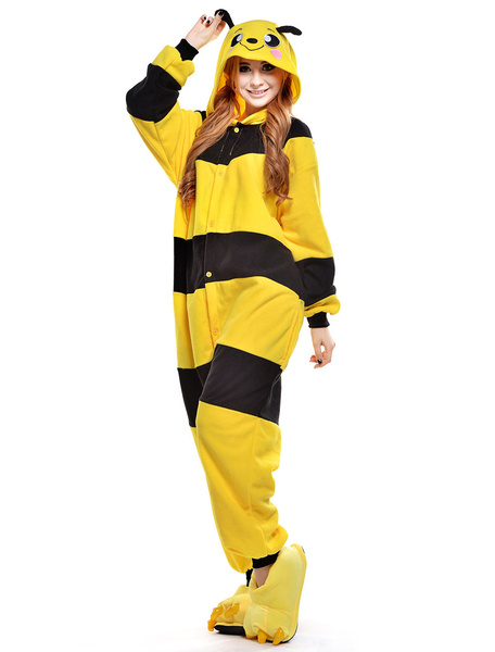 Milanoo Kigurumi Pajamas Bee Onesie For Adult fleece Flannel Yellow Black Stripe Costume Halloween
