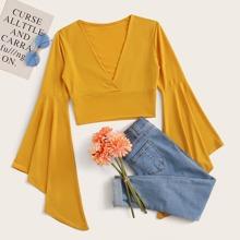 Flounce Sleeve V Neck Yellow Crop Top