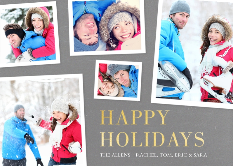 Holiday Photo Cards 5x7 Cards, Premium Cardstock 120lb with Rounded Corners, Card & Stationery -Happy Holidays Gray
