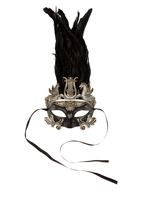 Kostuemzubehor Maske schwarz mit Federn silber