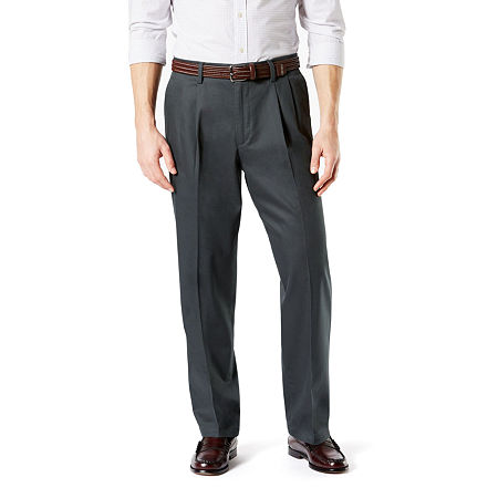 Dockers Men's Relaxed Fit Signature Khaki Lux Cotton Stretch Pants - Pleated D4, 32 34, Gray