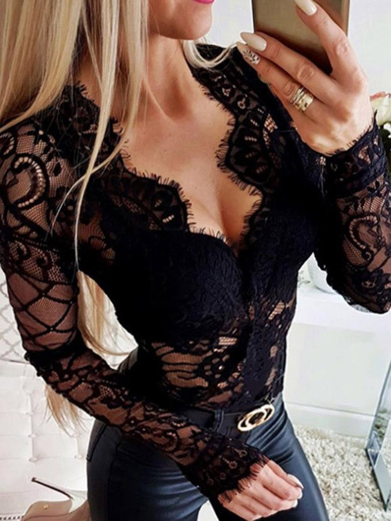 Ericdress Hollow V-Neck Lace Blouse