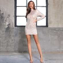DKRX Kleid mit Stehkragen, Reissverschluss hinten und Pailletten