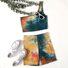 One Shoulder Tie Dye Top & Biker Shorts Set