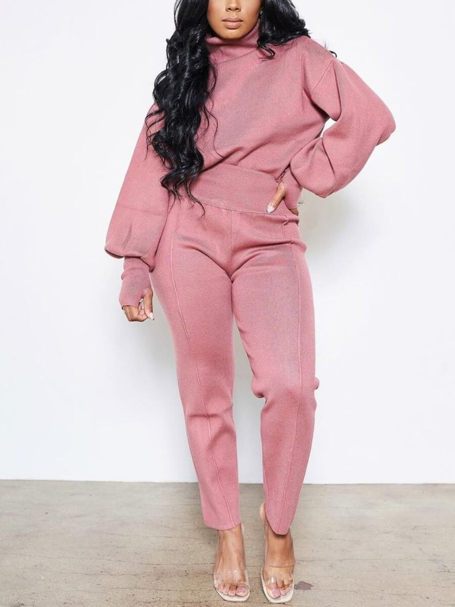 LW Lovely Casual Turtleneck Basic Loose Pink Two Piece Pants Set