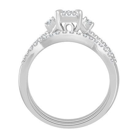 Womens 1/2 CT. T.W. Genuine Diamond 10K White Gold Bridal Set, 7 , No Color Family