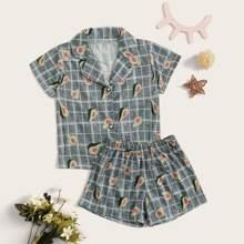 Conjunto de pijama de niñitas con estampado de aguacate y cuadros