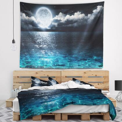 TAP9653-92-78 Romantic Full Moon Over Sea - Seascape Wall Tapestry -