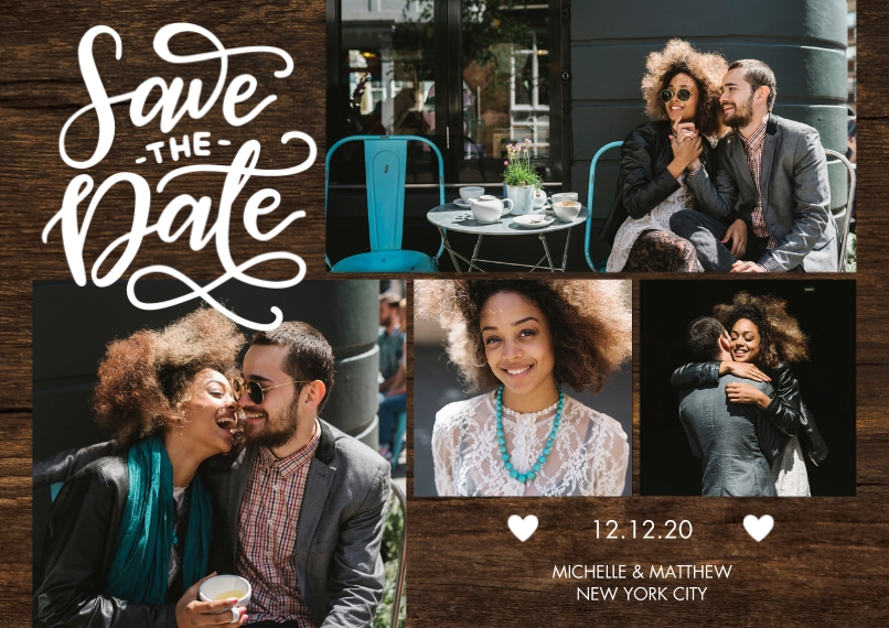 Save the Date Flat Glossy Photo Paper Cards with Envelopes, 5x7, Card & Stationery -Save the Date Tiny Hearts by Tumbalina