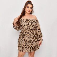 Plus Off Shoulder Allover Print Dress