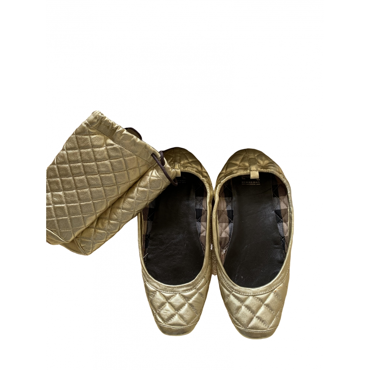 Burberry \N Ballerinas in  Gold Polyester