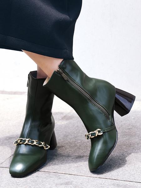 Milanoo Botines de mujer Verde oscuro Cuero de PU Punta cuadrada Detalles metalicos Botines de tacon grueso