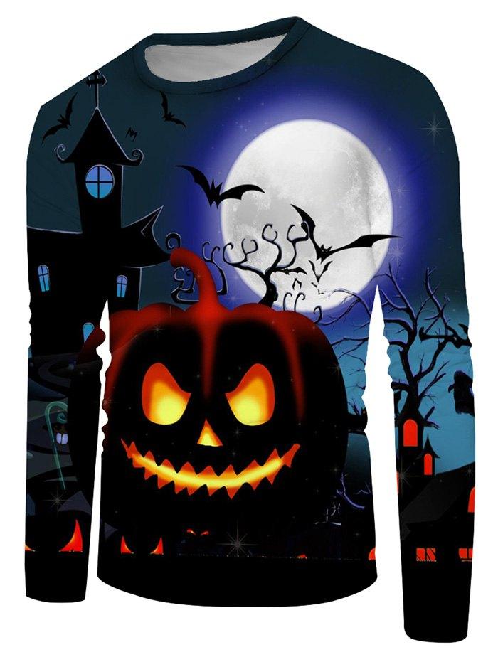 Halloween Pumpkin Moon Graphic Crew Neck Casual T Shirt