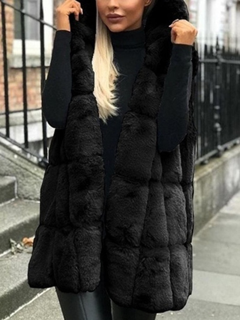 Ericdress Hooded Plain Long Winter Vest