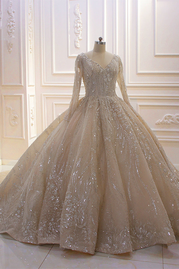 Sparkle Lace Long Sleeves Champange Vestido de novia con corse de lujo