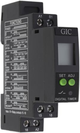 GIC SPDT Multi Function Timer Relay - 0.1 s → 999 h, 1 Contacts, DIN Rail