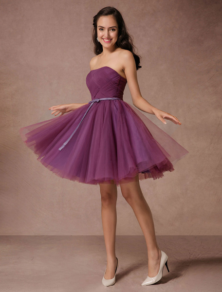 Milanoo Short Bridesmaid Dress Plum Tulle Strapless Homecoming Dress Short Prom Dress Backless Woven Cocktail Dress With Sash