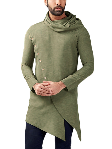 Yoins INCERUN Men Mid-long Casual Fashion Plain Button Front Asymmetrical T-Shirt