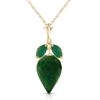 13.4 Carat 14K Solid Gold Apparently Simple Emerald Gemstone Necklace (20 Inch - Yellow)
