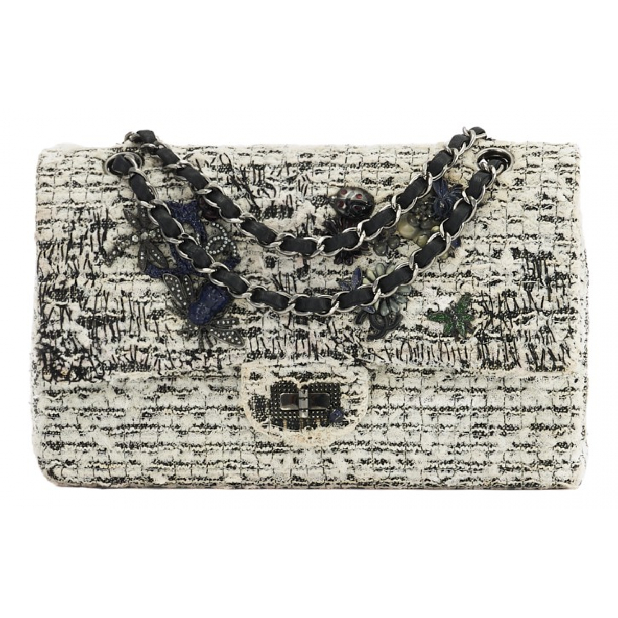 Chanel 2.55 White Tweed handbag for Women N